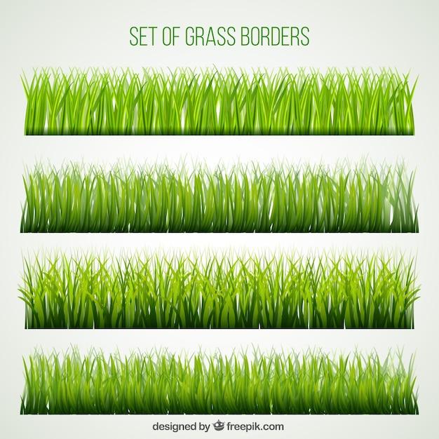 Grand ensemble des frontières de l'herbe Vecteur gratuit