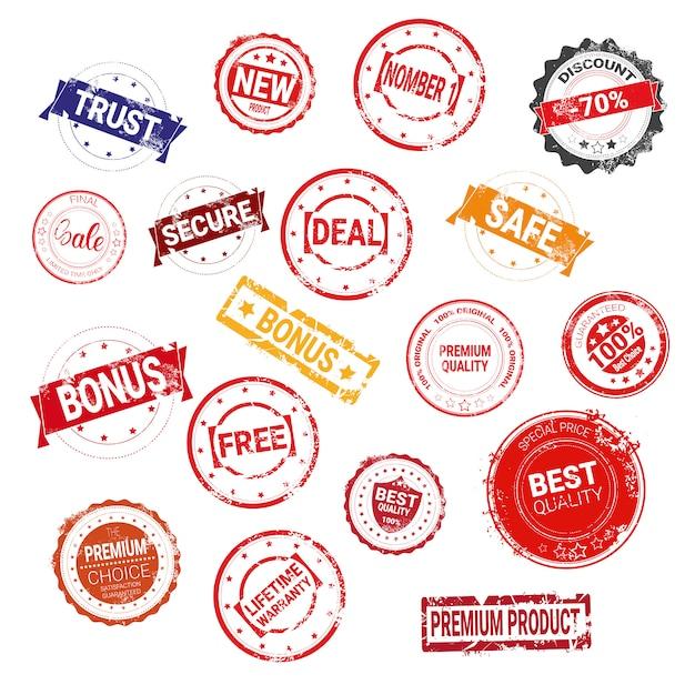 Grand ensemble de garantie de bon marché et de collection de joints en caoutchouc de concept de vente de grunge de timbres de grunge Vecteur Premium