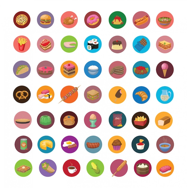 Grand Ensemble D'icônes De Nourriture Vecteur Premium