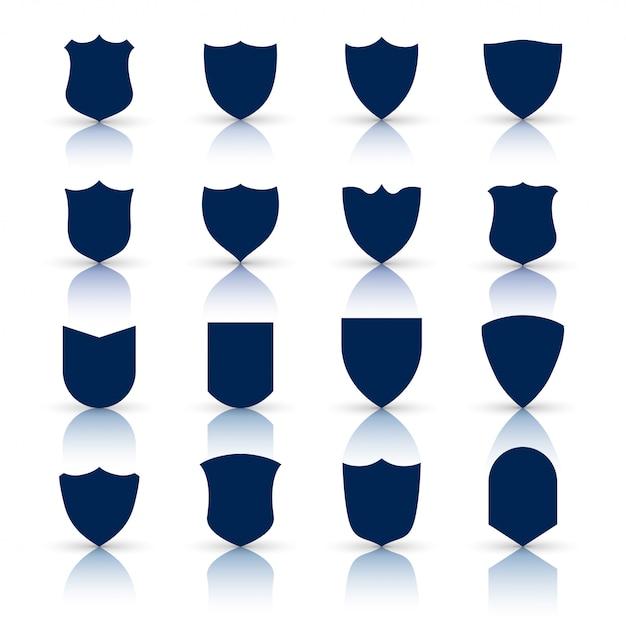 Grand ensemble d'icônes et de symboles de bouclier Vecteur gratuit