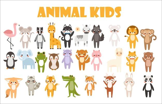 Grand Ensemble D'illustration D'animaux De Dessin Animé Mignon Vecteur Premium