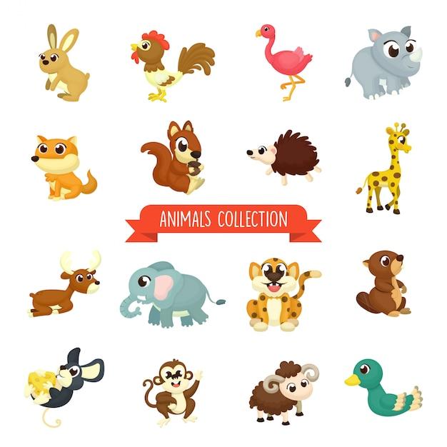Grand ensemble d'illustration animaux mignons en style cartoon Vecteur Premium
