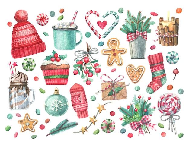 Grand Ensemble D'illustrations à L'aquarelle Sur Le Thème De Noël. Vecteur Premium