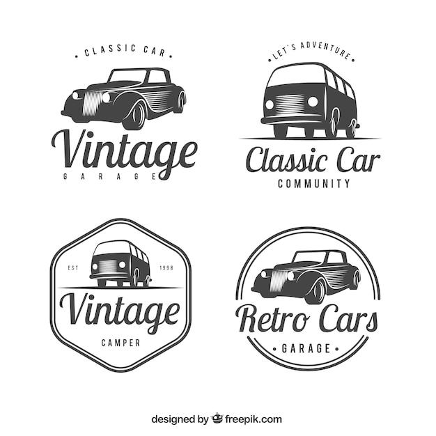 Grand Ensemble De Logos Avec Des Voitures Classiques