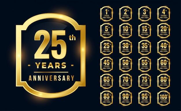 Grand ensemble de logotype d'anniversaire premium de couleur dorée Vecteur gratuit