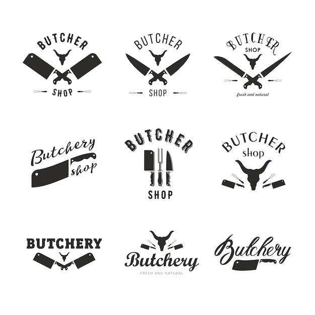 Grand ensemble de modèles de logo de boucherie. étiquettes de boucherie avec un exemple de texte. éléments de conception de boucherie et silhouettes d'animaux de ferme pour l'épicerie, les magasins de viande, l'emballage et la publicité. Vecteur Premium