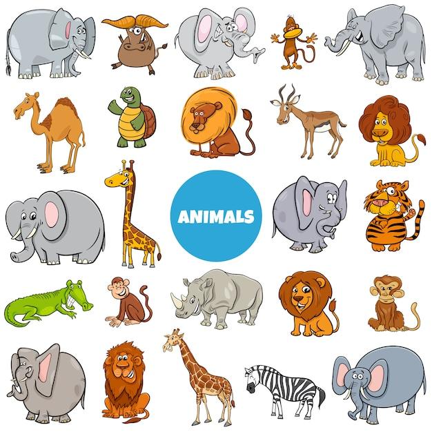 Grand Ensemble De Personnages D'animaux Sauvages De Dessin Animé Vecteur Premium