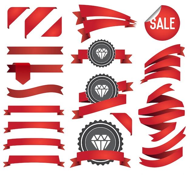 Grand ensemble de rubans et étiquettes rétro et vintage. Vecteur Premium