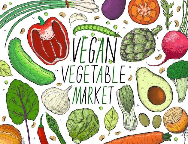Grand ensemble de vecteur de légumes dans un style de croquis réaliste. Vecteur Premium