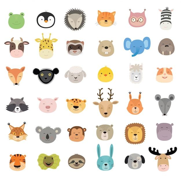 Grand Ensemble De Visages D'animaux Mignons. Vecteur Premium