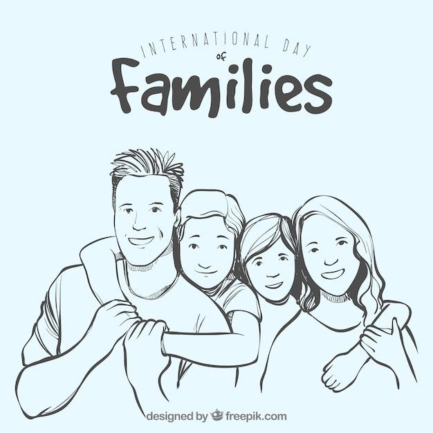 Grand Fond De La Famille Tirée à La Main En Souriant Vecteur Premium