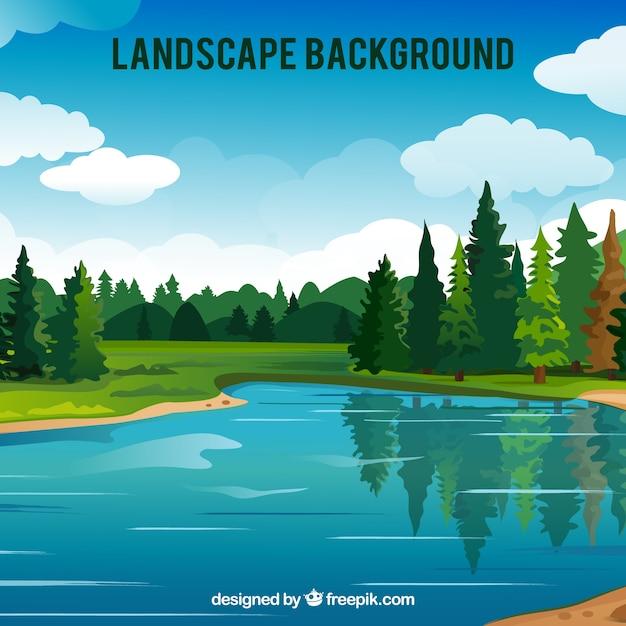 Grand fond de forêt avec lac Vecteur gratuit