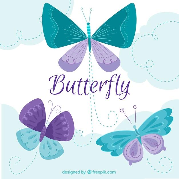 Grand Fond Avec Les Papillons Verts Et Violets Dans La Conception Plate Vecteur gratuit