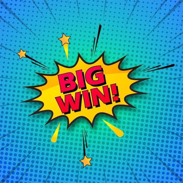 Grand gagnant fond pop art coloré comique Vecteur Premium