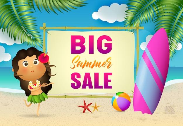 Grand lettrage de vente d'été avec femme aborigène et planche de surf Vecteur gratuit