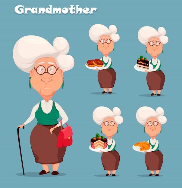Grand-mère aux cheveux d'argent, ensemble de cinq poses Vecteur Premium