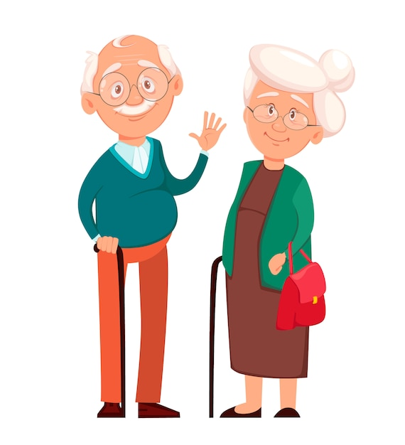 Grand-mère Debout Avec Grand-père Vecteur Premium