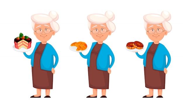Grand-mère, ensemble de trois poses Vecteur Premium