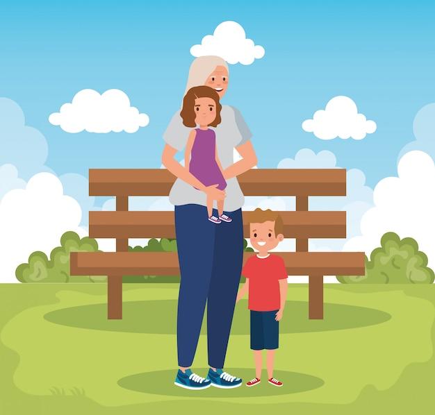 Grand-mère, à, Petits-enfants, Dans, Parc, Scène Vecteur gratuit