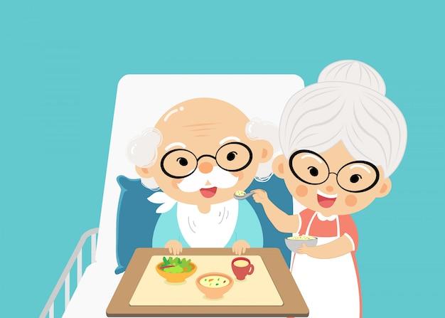 Grand-mère prend soin de nourrir et de prendre une drogue le grand-père avec amour et inquiétude quand il est malade. Vecteur Premium