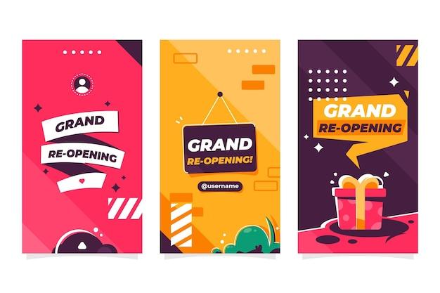 Grand Modèle D'histoires De Réouverture Instagram Vecteur gratuit