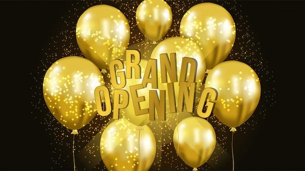 Grand modèle d'ouverture avec ballon en or Vecteur Premium