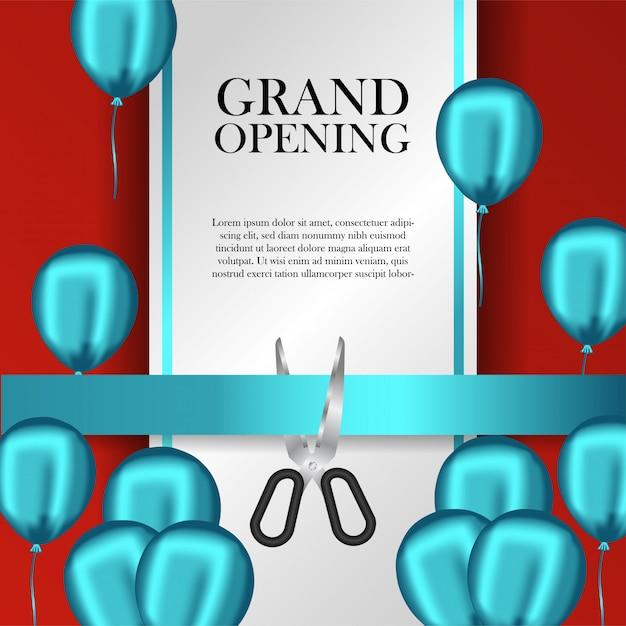 Grand modèle d'ouverture avec des ballons bleus et ruban de coupe Vecteur Premium