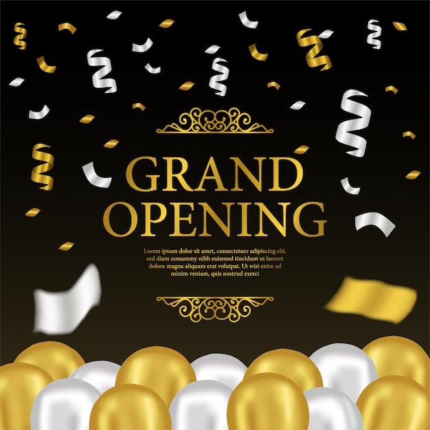 Grand modèle d'ouverture avec des ballons d'or et d'argent Vecteur Premium