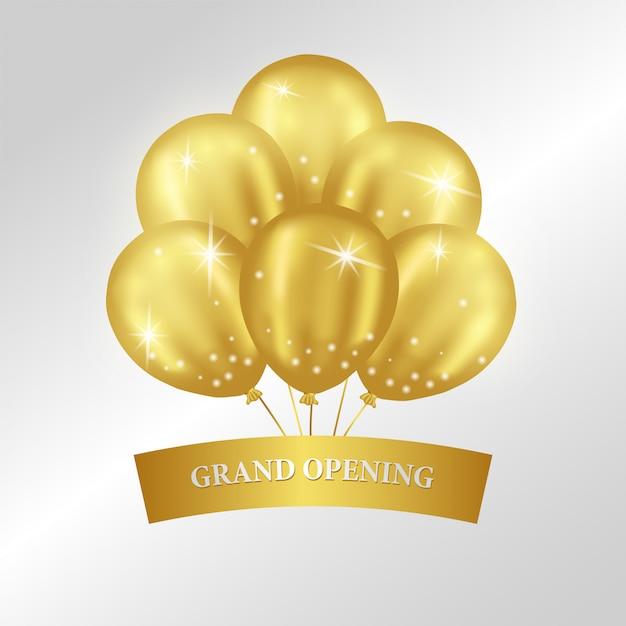 Grand modèle d'ouverture avec des ballons d'or Vecteur Premium