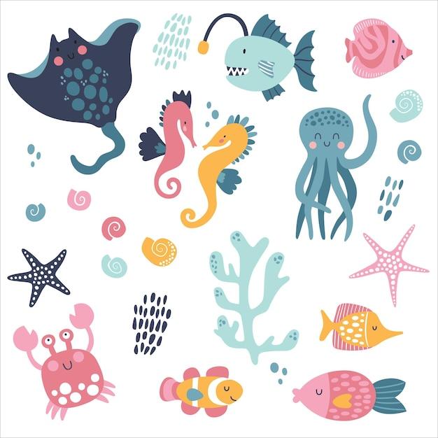 Grand Nautique Créatif Avec Des Habitants Marins. Méduse, Poulpe, Rampe, Poisson Clown, Crabe, Hippocampe. Vecteur Premium