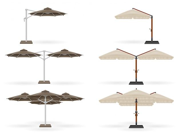Grand parasol pour les bars et les cafés sur la terrasse ou la plage. Vecteur Premium