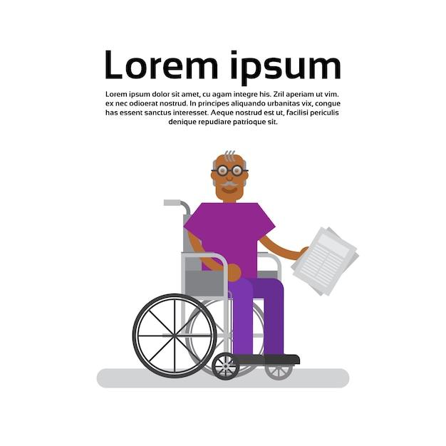 Grand-père homme afro-américain senior sur chaise Vecteur Premium