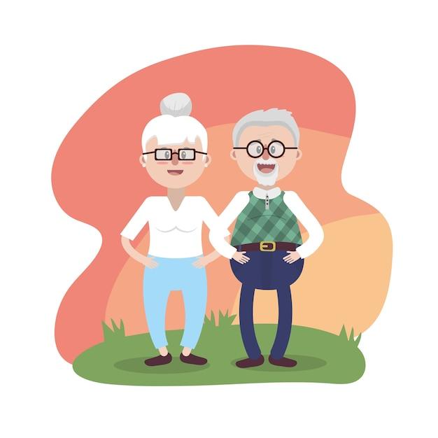 Grand-père avec des lunettes et une coiffure Vecteur Premium