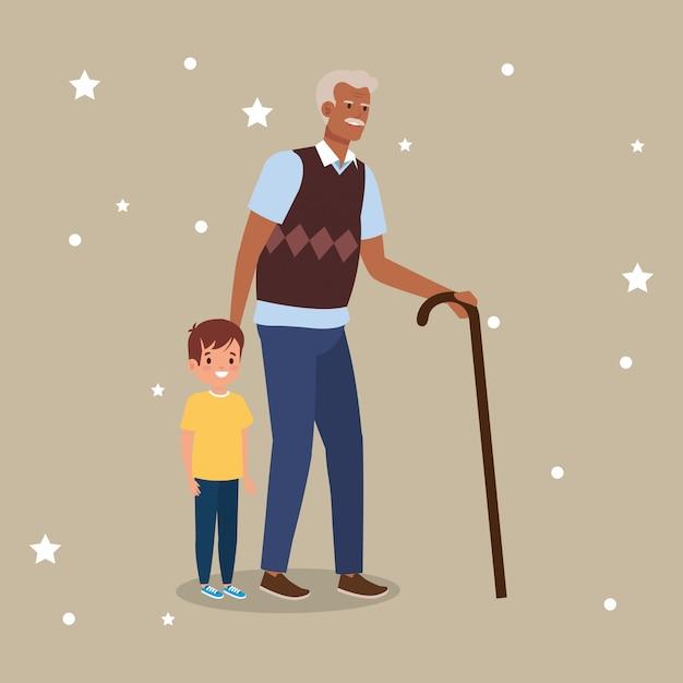 Grand-père avec personnage avatar petit-fils Vecteur gratuit