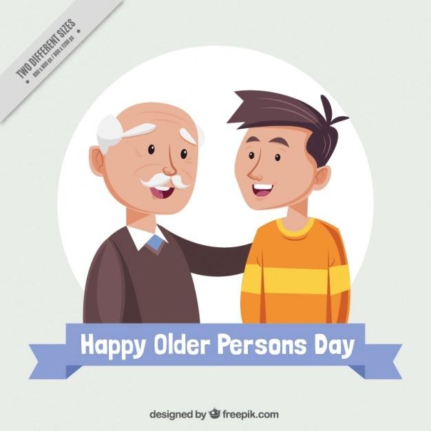 Grand-père Avec Son Petit-fils Pour La Journée Des Personnes âgées Vecteur gratuit