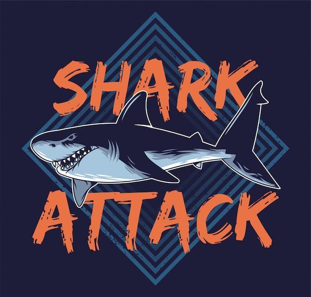 Grand Requin Abstrait Dangereux En Colère Affamé Vecteur Premium