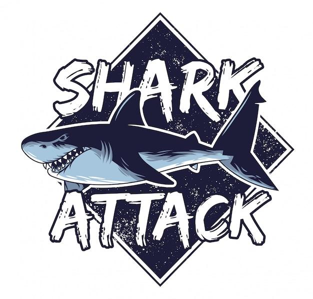 Grand Requin Faim Affamé Dangereux Attaque Les Animaux Poissons Prédateurs Dans La Mer Profonde De L'océan Californie Hawaii Vecteur Premium