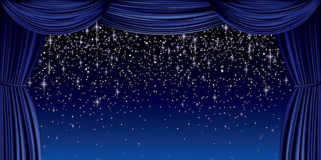 Grand rideau bleu Vecteur Premium