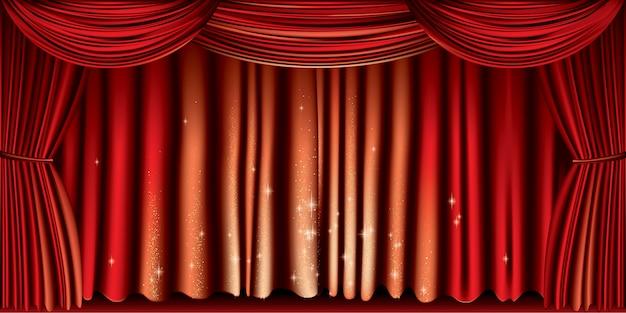 Grand rideau rouge Vecteur Premium