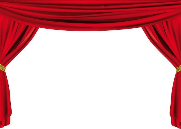 Grand rideau de théâtre Vecteur Premium