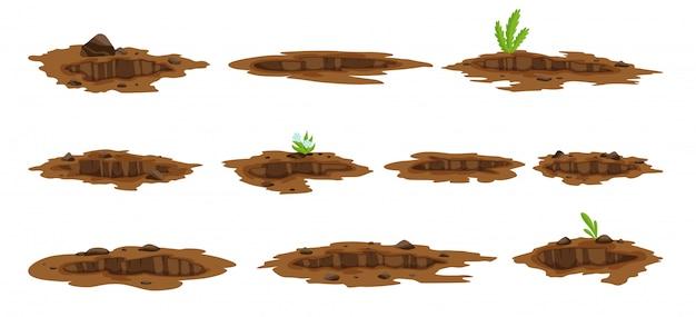 Un Grand Trou Définit L'illustration De La Terre. Travaux De Terrassement Creusant Des Stériles Et Du Gravier, Illustration Vecteur Premium