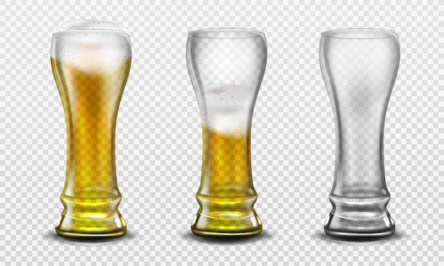 Grand Verre Plein De Bière, à Moitié Plein Et Vide. Vecteur gratuit