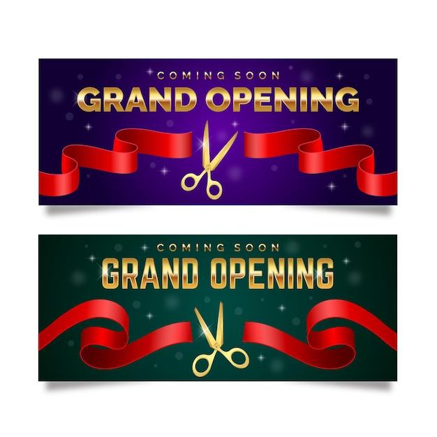 Grande Bannière De Réouverture Avec Ciseaux Et Ruban Vecteur Premium