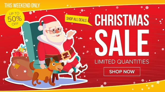 Grande Bannière De Vente De Noël Avec Joyeux Père Noël. Vecteur Premium