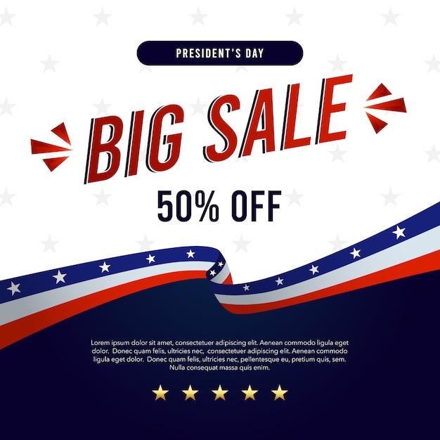 Grande Bannière De Vente Pour La Journée Des Présidents Vecteur Premium
