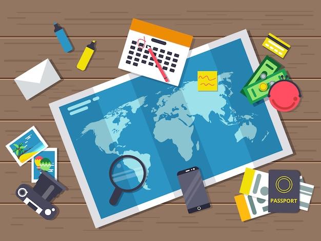 Grande carte du monde avec différents éléments itinérants. planification de la route des vacances d'été. Vecteur Premium