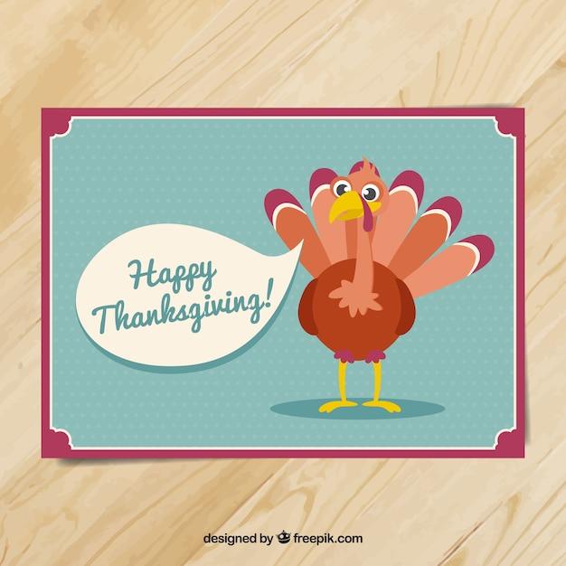 Grande carte pour thanksgiving avec une belle dinde Vecteur gratuit