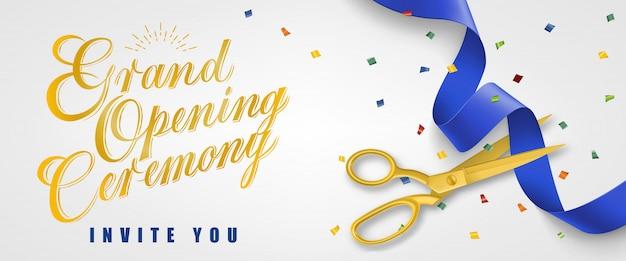 Grande cérémonie d'ouverture, vous inviter bannière festive avec des confettis et des ciseaux d'or Vecteur gratuit