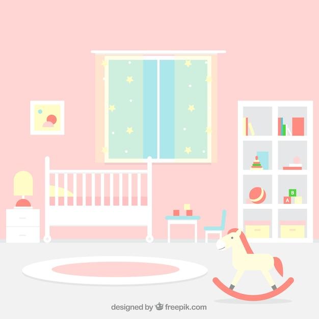 Grande Chambre De Bébé Avec Mur Rose | Télécharger Des Vecteurs ...