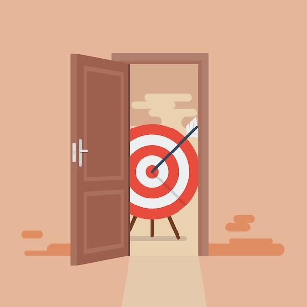 Grande cible derrière la porte ouverte Vecteur Premium